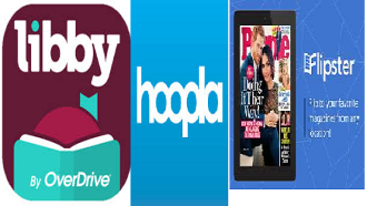 logos for libby, hoopla, and flipster